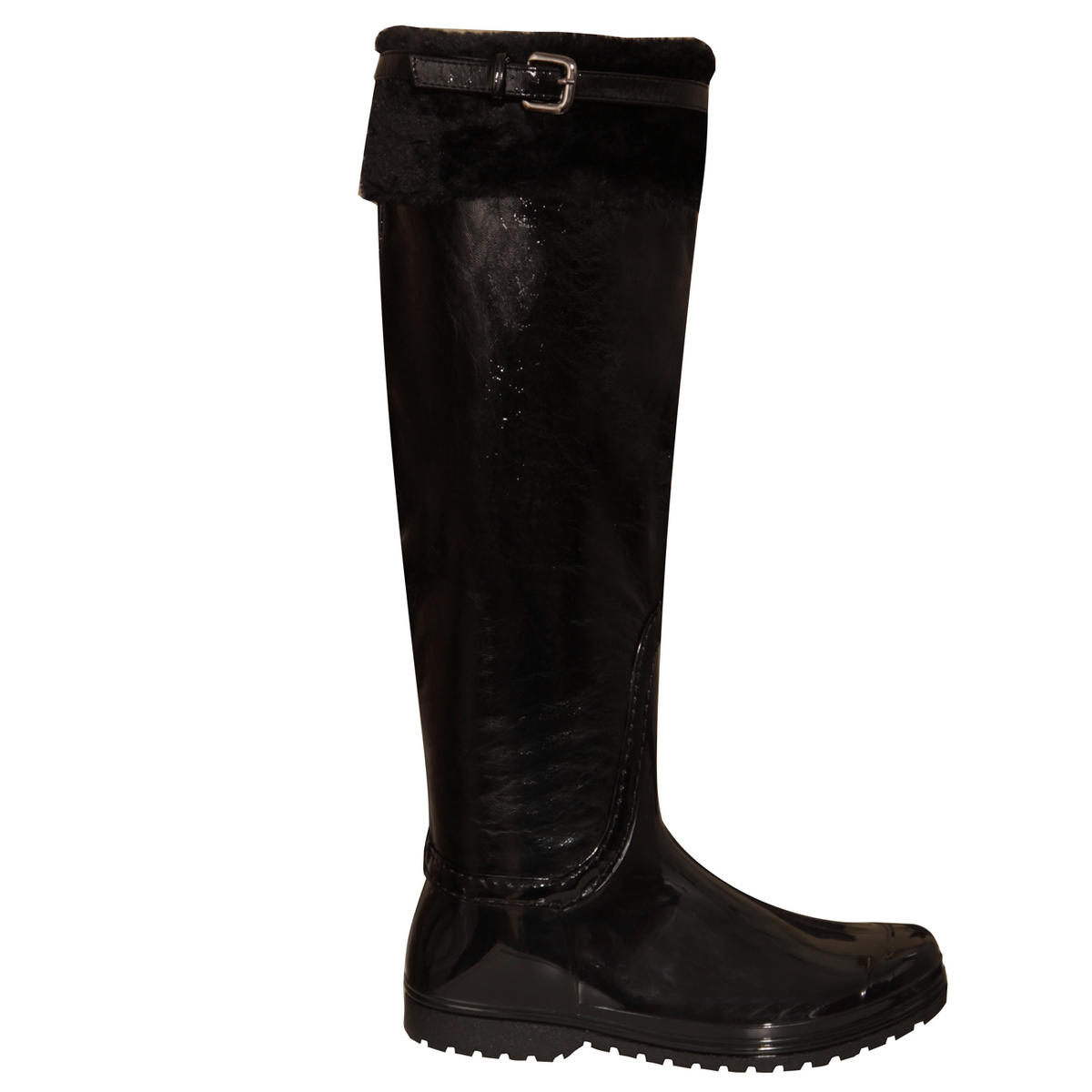 SIZE 4 ONLY Black Fur Trim Patent Wellington Boot Preview